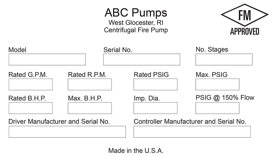 An example of a fire pump nameplate including driver and controller information