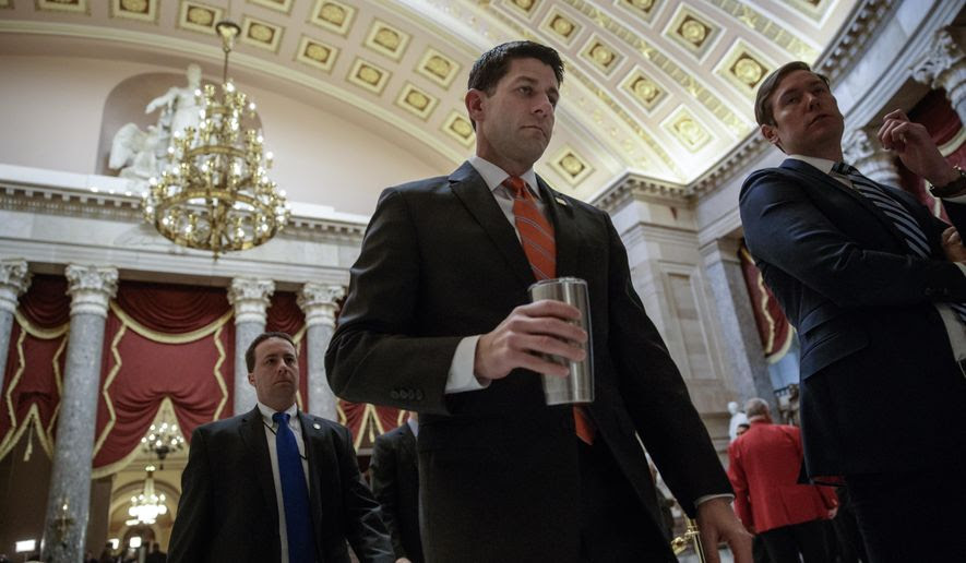 House Speaker Paul Ryan of Wis. walks to his office on Capitol Hill in Washington, Thursday, March 23, 2017, as he and the Republican leadership scramble for votes on their health care overhaul in the face of opposition from reluctant conservatives in the House Freedom Caucus. (AP Photo/J. Scott Applewhite)