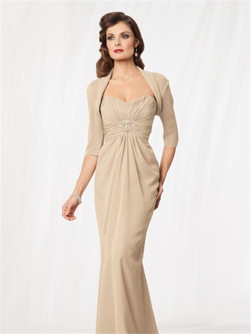 mermaid floor length champagne chiffon mother of the bride dress ...