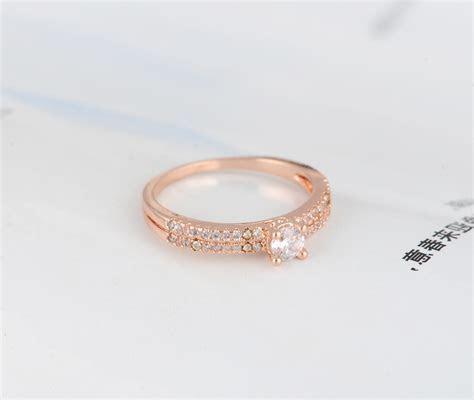 Real 18k Rose Gold Plated Mens Fake Diamond Wedding Ring