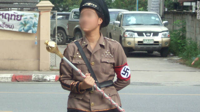 Another student opted to dress up as Adolf Hitler for the parade to mark the school's sports day.