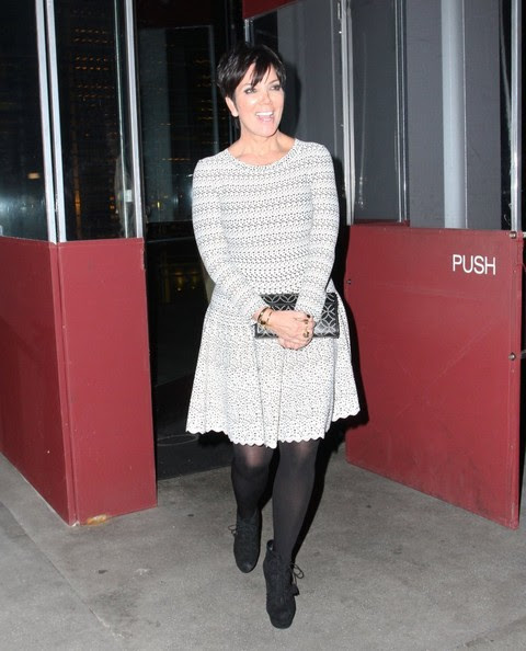 """""""Keeping Up with the Kardashians"""" star Kris Jenner enjoys dinner at BOA Steakhouse on February 26, 2013 in West Hollywood, California."""
