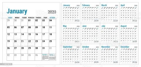 2020 Office Calendar Template