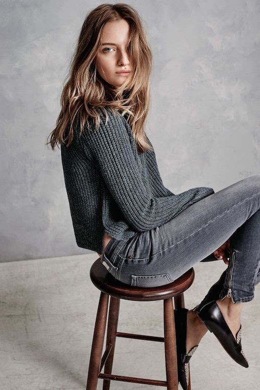 Le Fashion Blog Hunky Dory FW AW 2015 Lookbook Cropped Knit Sweater Grey Wash Skinny Jeans Embellished Print Pointed Toe Flats Fall Winter Style