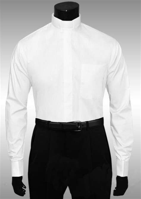 white clergy tab collar french cuff shirt