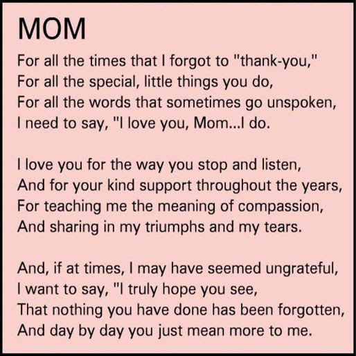 I love this quote. I'm thinking about writing something specail like this for mom on her next birthday. Or maybe I might save it for mothers day.