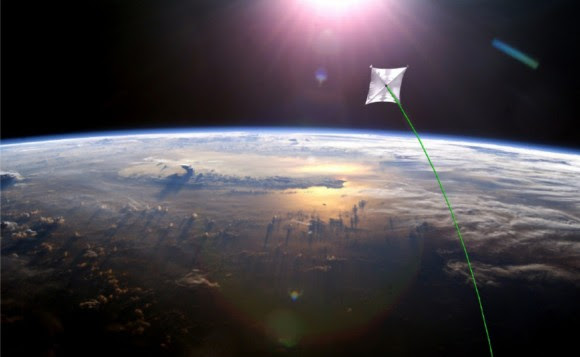 Artist concept of a solar sail demonstration mission that will use lasers for naviation. Credit: NASA.