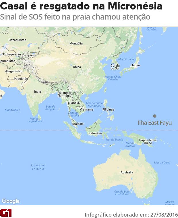 Mapa casal resgatado Micronésia (Foto: G1)