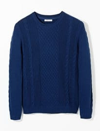 He By Mango Cable-knit Cotton Sweater