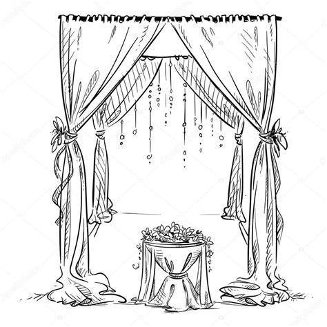 Wedding arch. Wedding altar. Decoration. Vector sketch