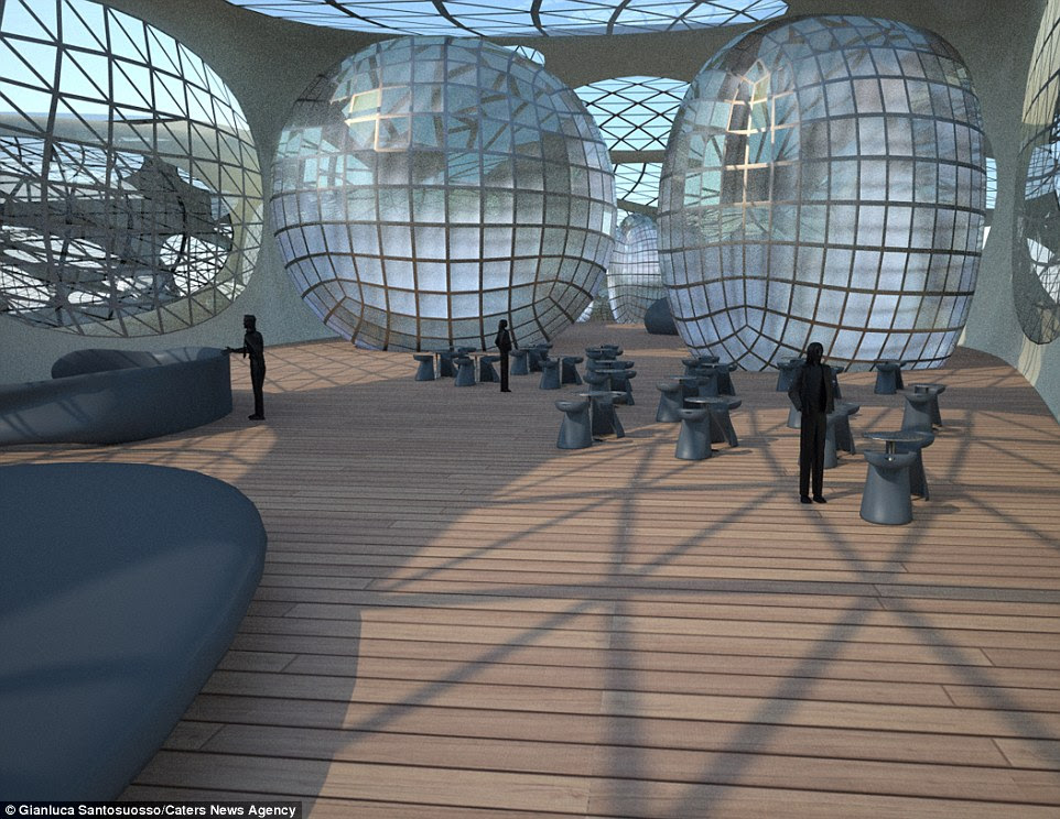 The luxurious floating paradise would be composed of capsules that house a spacious lobby, guest rooms and other amenities