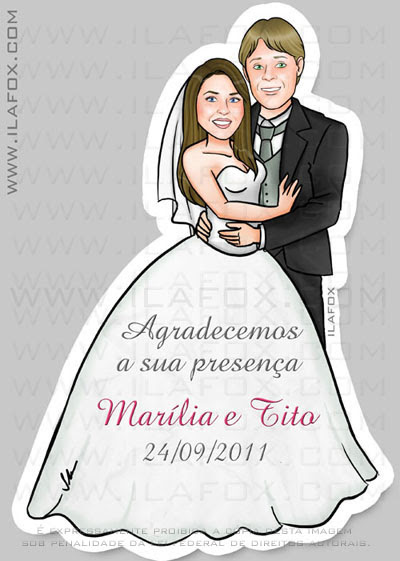 Caricatura noivos, casal, corpo inteiro, colorido, lembrancinha casamento, lembrancinha magnética, lembrancinha original, by ila fox