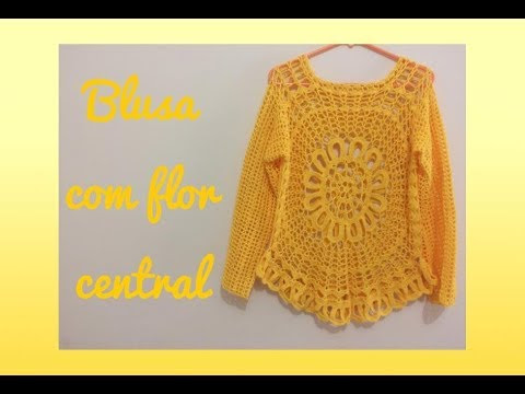 فيديو شرح طريقة عمل بلوزة مع الزهرة المركزية  نسائي صيفي Crochet blouse with central flower كروشيه