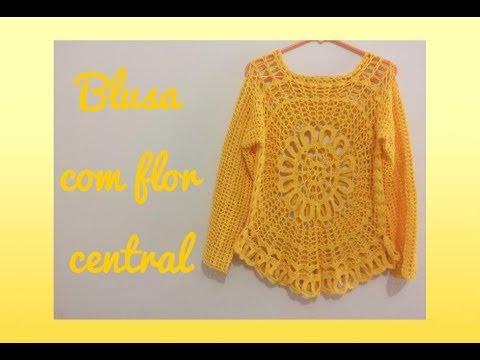فيديو شرح طريقة عمل بلوزة مع الزهرة المركزية  نسائي صيفي Crochet blouse with central flower كروشيه