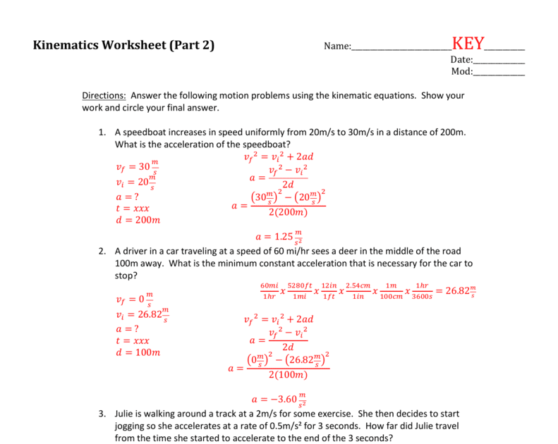 Kinematic And Linear Equation Practice Answer Key Tessshebaylo