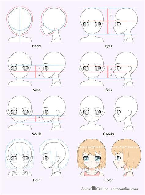 draw  cute anime girl step  step animeoutline