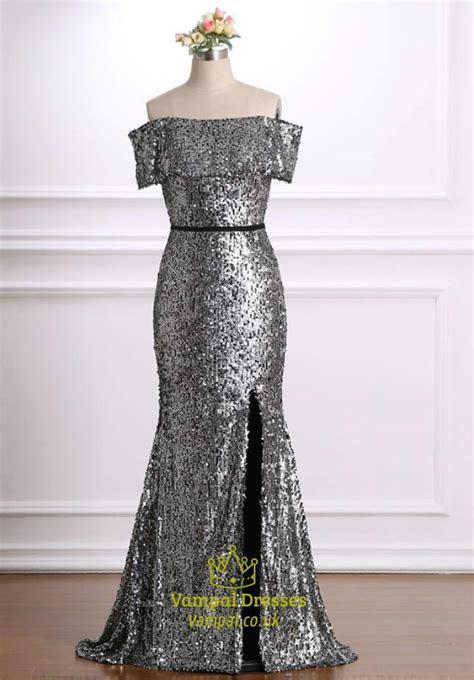 Grey Off The Shoulder Short Sleeve Sheath Long Prom Dress