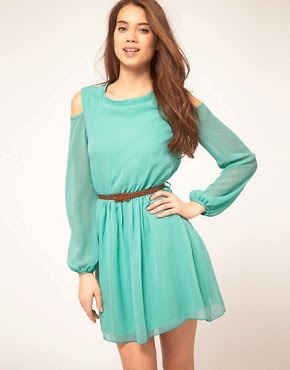 Image 1 of Rare Chiffon Cut Out Shoulder Belted Dress