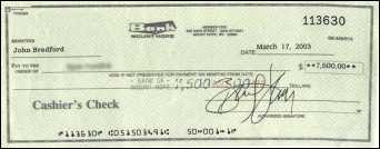 Counterfeit cashier's check from Bank of Mt Hope, WY