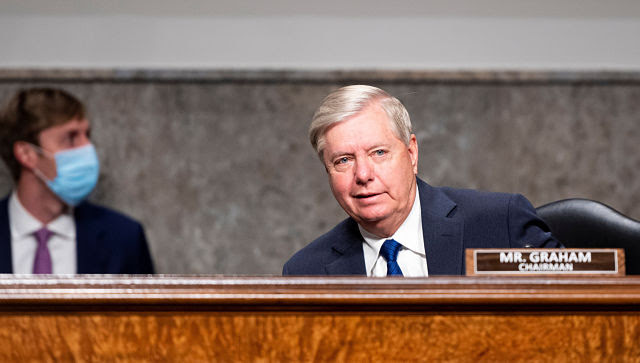 Senate Judiciary Committee chairman Lindsey Graham presides over hearing in Washington on Tuesday. By Bill Clark/Pool via The New York Times © 2020 The New York Times