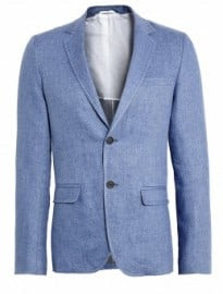 Nicole Farhi Airforce Blue Treated Linen Twill Blazer