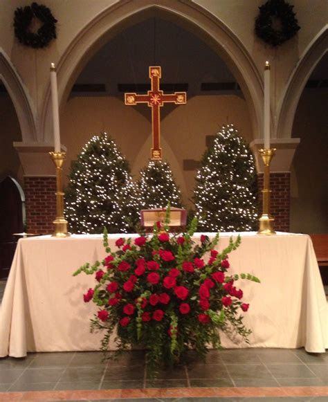2013 Christmas Altar flowers  roses, bells of Ireland and