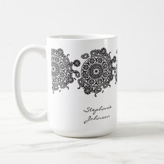 Elegant Ornament White/Black Mug mug