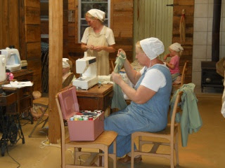 Ranchfest Ladies Working on Sewing Projects for the Bunker Family