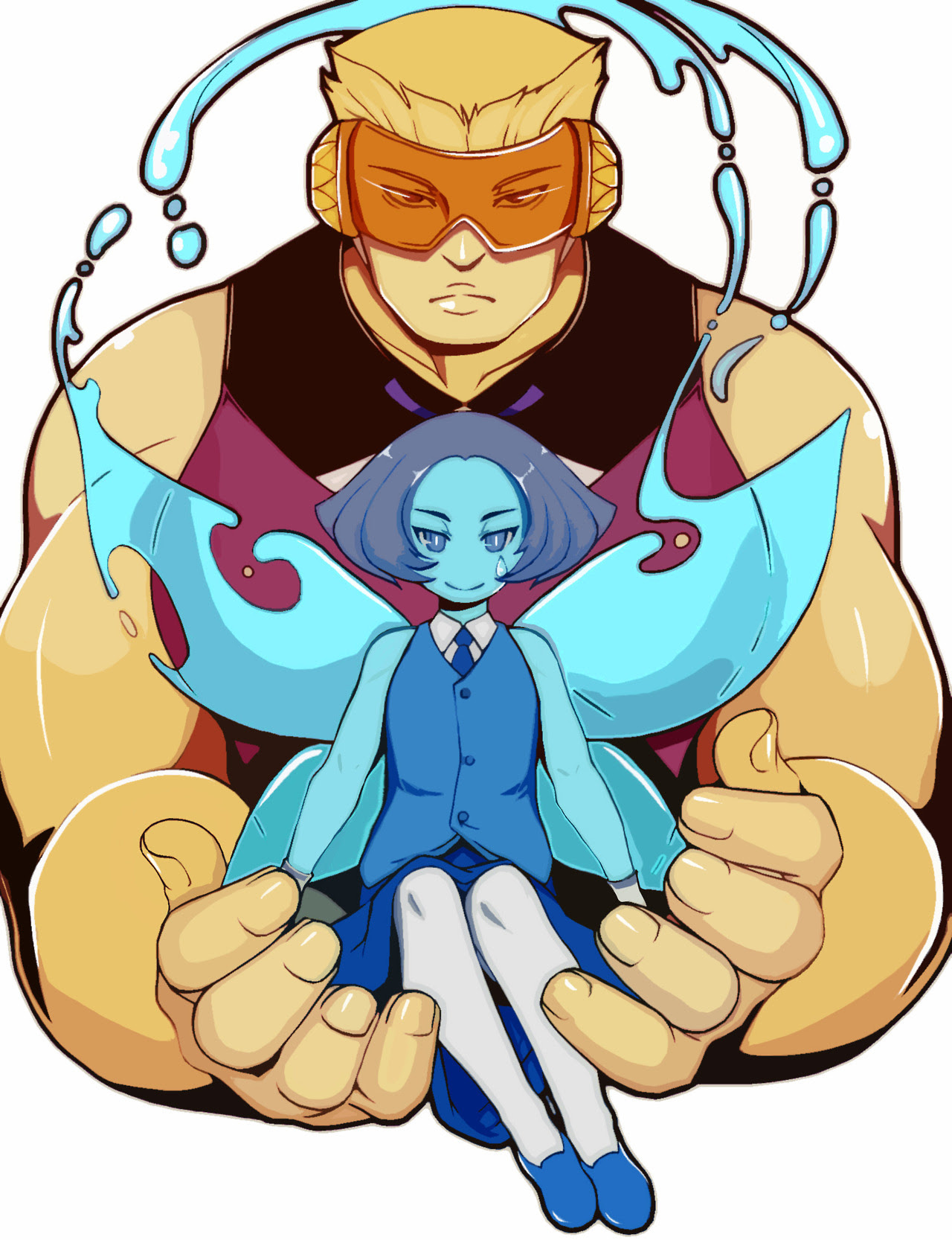 A drawing of Aquamarine and Topaz from the recent episodes of Steven Universe.
