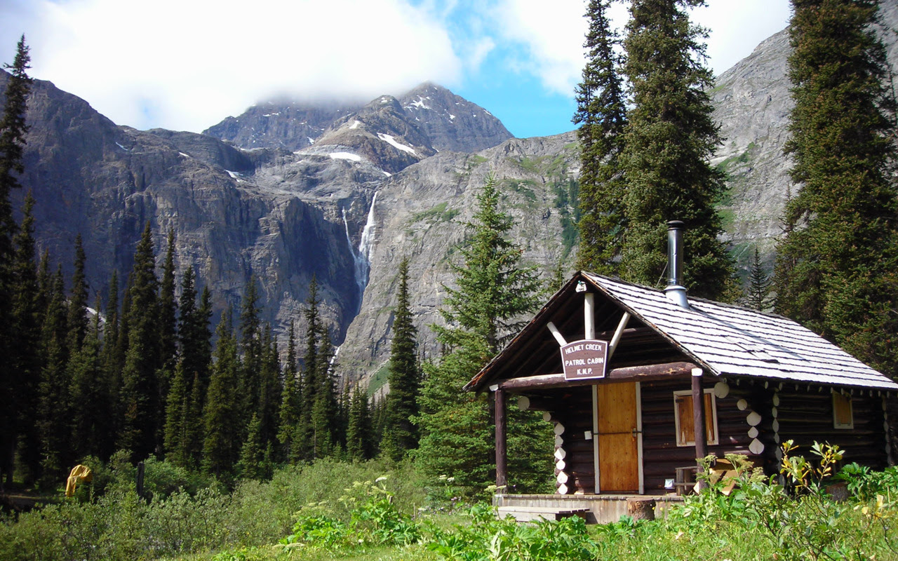 Helmet Creek Patrol Cabin beneath Helmet Falls in British Columbia, Canada Submitted by Chad Morgan Connery