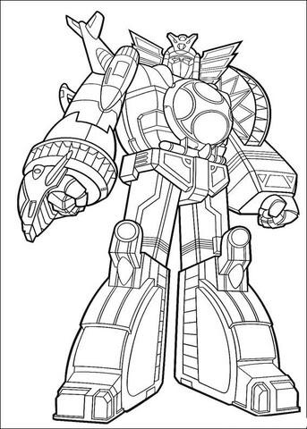 power ranger megazord coloring page  free printable