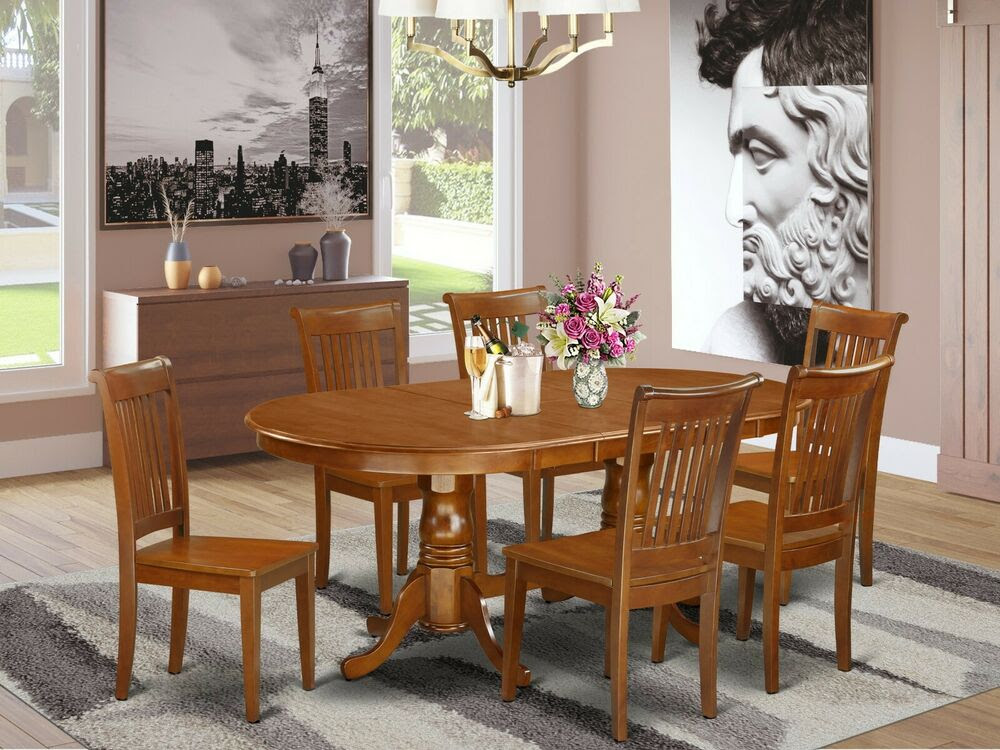 7PC OVAL DINETTE KITCHEN DINING TABLE w\/ 6 WOOD SEAT CHAIRS IN SADDLE BROWN  eBay