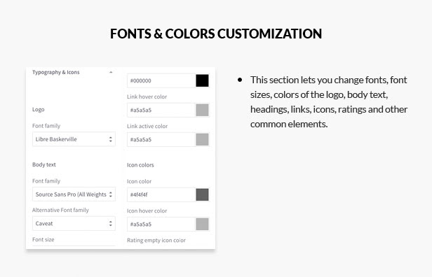 Font and color customization