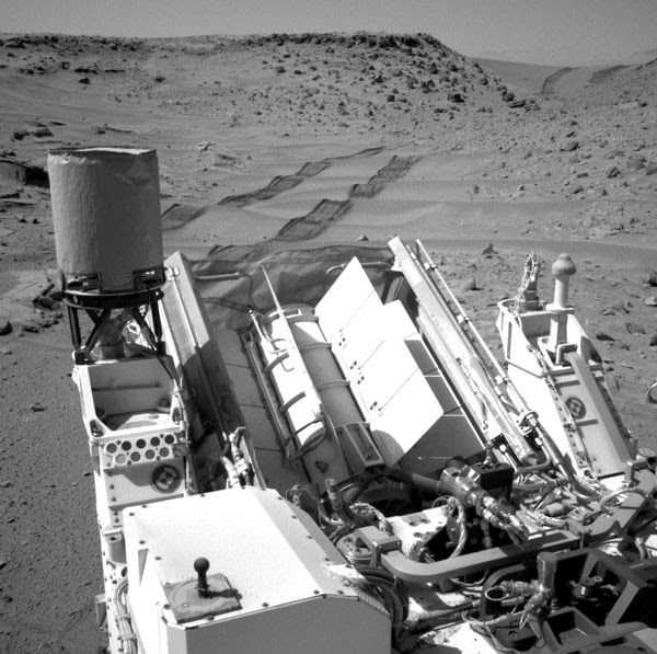 At Gale Crater on Mars, NASA's Curiosity rover drove over a series of dunes known as the Dingo Gap...on February 6, 2014.