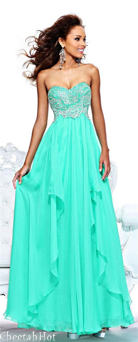 pretty teal turquoise strapless prom dress prom