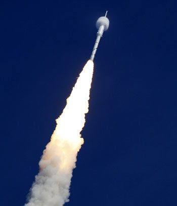 The ARES I-X rocket soars through the sky on October 28, 2009.