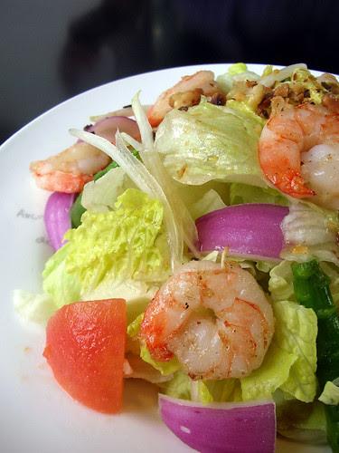 pietro's prawn, tomato, asparagus salad