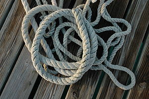 Rope on a wooden deck.