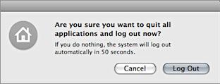 Screenshot of Mac OS X's log out confirmation dialog.