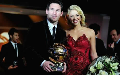 Shakira and Messi smiling at the FIFA Balon d'Or 2011-2012 ceremony and gala