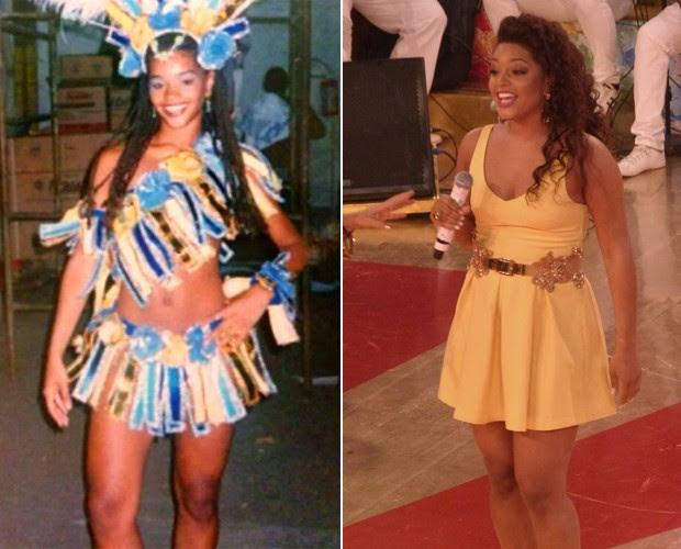 Antes e depois! À esquerda, Juliana Alves em seu prieiro contato com a Unidos da Tijuca e, à direita, em fase atual (Foto: Arquivo pessoal / João Mello / Gshow)