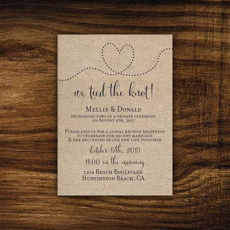 Printable Elopement Reception Invitation, Reception Only
