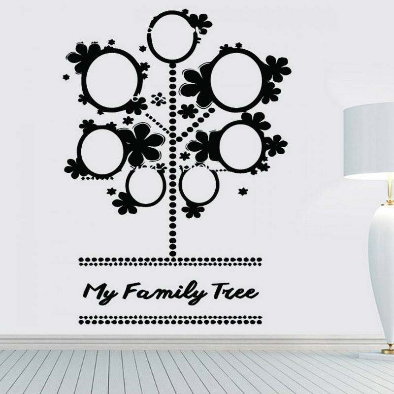Cute Photo Frame Family Tree Wall Stickers Black Vinyl Removable Diy