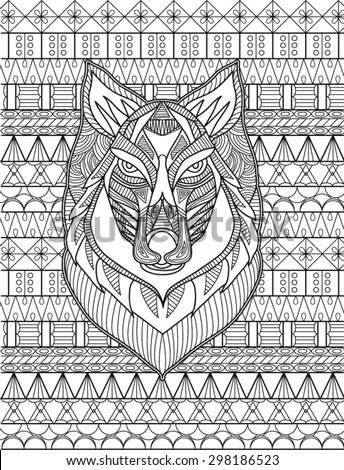 Detailed drawing of wolf coloring page - stock vector
