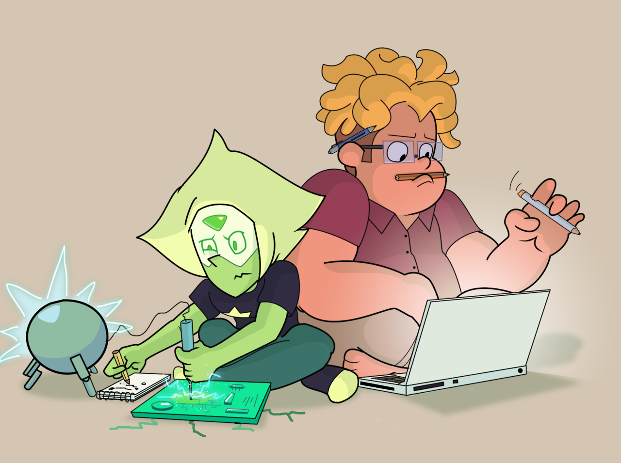 Also this… is oooooooooold, really really old. I know my silly brain is running around screaming, but I just reminded myself that I'd drawn Peri making stuff from chunks 'o hand ship. And seeing that bright green sword made me think OMG yay what if Peri builds a buncha crap for Ronaldo? eeee….