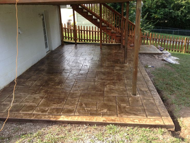 Stamped Concrete Patio Under Deck Ideas