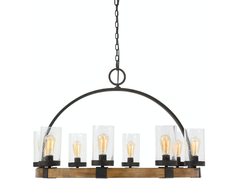 Uttermost Lamps And Lighting Atwood 8 Light Wagon Wheel Pendant
