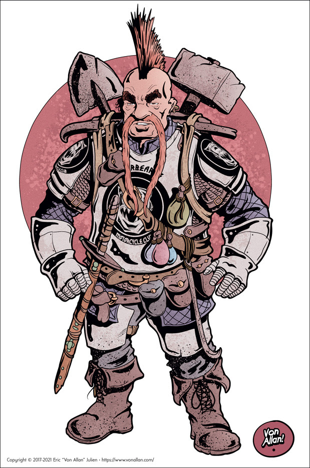 Old School Dungeon Dwarf with Armour, Weapons, and a trusty backpack by Von Allan