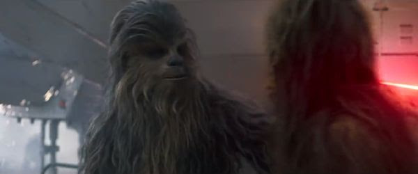 Chewbacca greets a fellow Wookie (his wife?) in SOLO: A STAR WARS STORY.