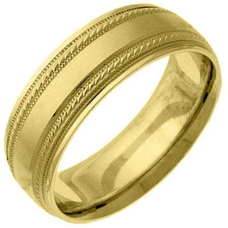 TheJewelryMaster   Mens 14KT Yellow Gold 6mm Satin